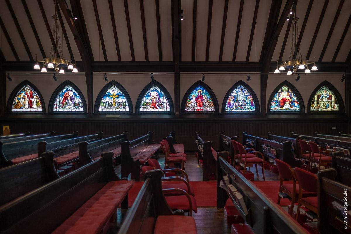 Tiffany windows on South wall