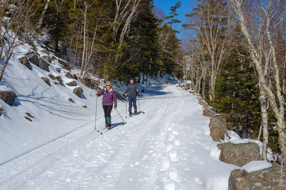 8 Cross country skiers on Carriage Road looking north